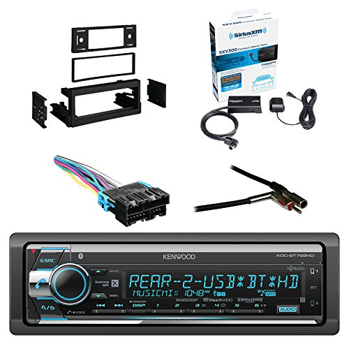 Kenwood Single Din CD/AM/FM Car Audio Receiver W/Bluetooth with SiriusXM Satellite Radio Vehicle Tuner Kit, Metra Dash Kit For GM Truck And Van 95-05, Metra Radio Wiring Harness, Metra Antenna Adapter by EnrockAutomotive