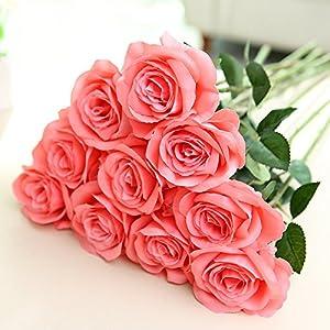 DALAMODA YIWU-GK 10pcs Artificial Rose Flower Silk Rose 22