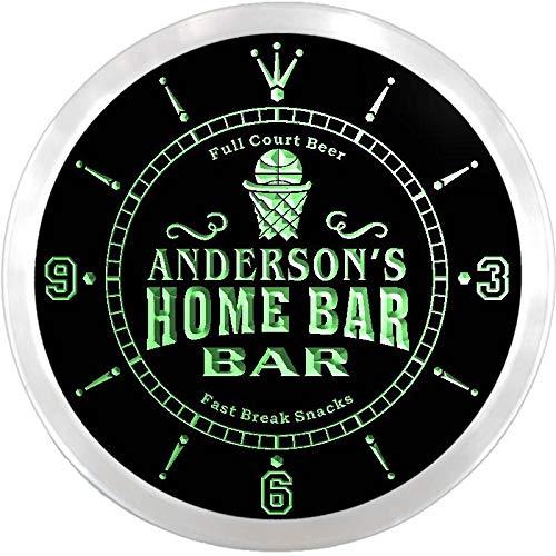 ADVPRO ncx1011-tm Anderson's Home Bar Slam Dunk Custom Name Neon Sign Clock