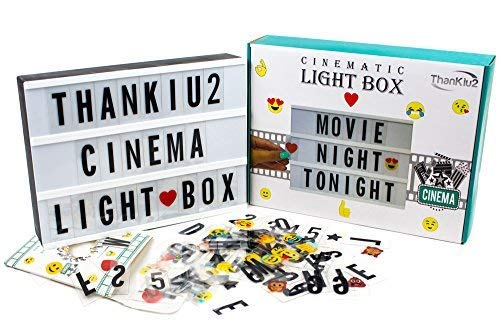 Cinema Light Box with Letters - Vintage Cinematic Light Up Message And Note Sign With 192 Letters, Numbers, Symbols & Emojis – Personalized A4 White LED Lightbox With Extra Long Durable USB Cable -
