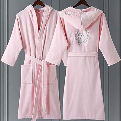Albornoz Rizo algodón Mujer, Bata de baño Toalla Algodon Larga Rosa con Capucha, Bata de Microfibra Suave y Confortable para Mujer Corta: Amazon.es: Hogar