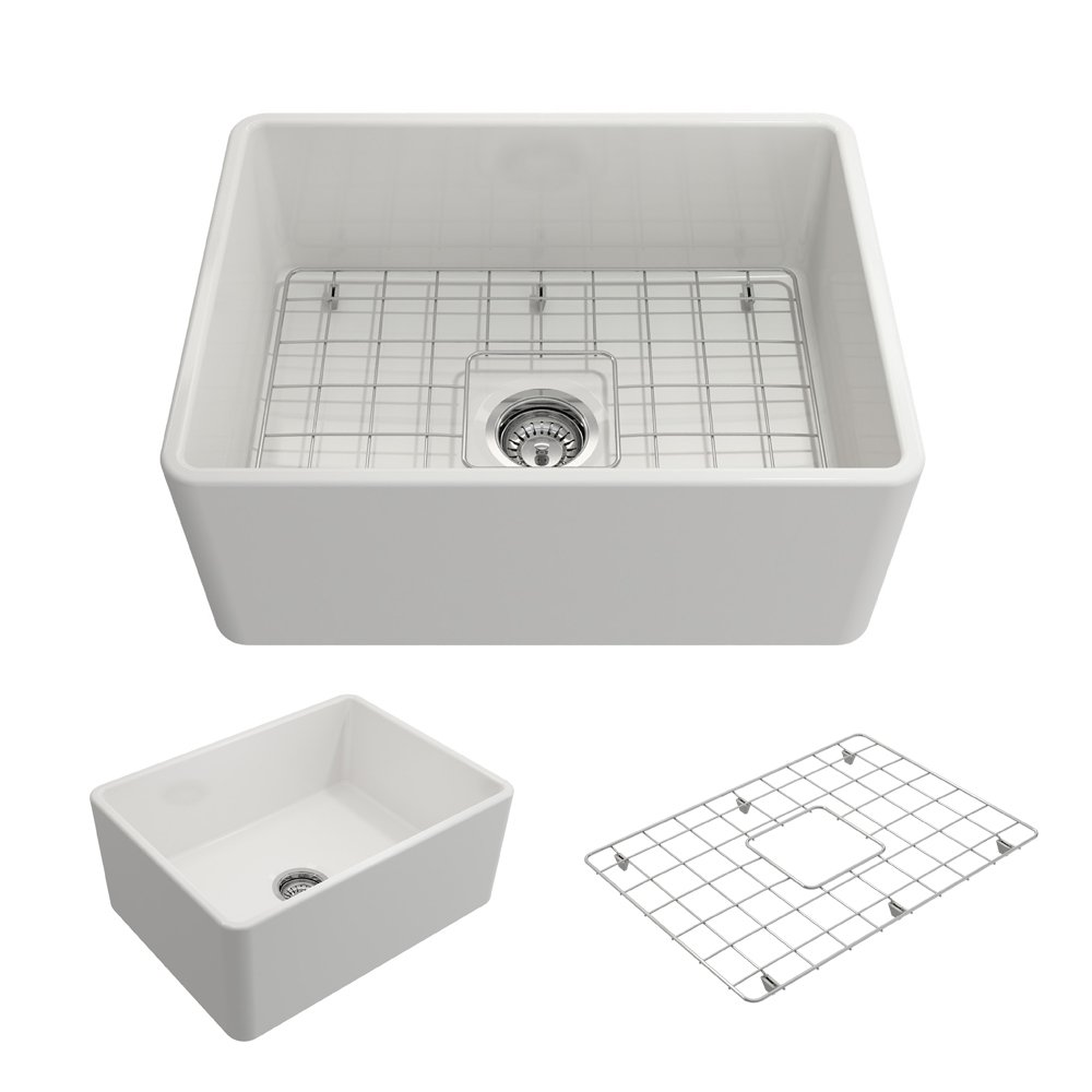 BOCCHI 1137-001-0120 Classico Apron Front Fireclay 24 in. Single Bowl Kitchen Sink with Protective Bottom Grid and Strainer in White