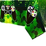 WERNNSAI Video Game Table Covers - 4 PCS 71''x 43.3'' Disposable Printed Plastic Tablecloth, Party Supplies for Kids Player Geek Game Themed Party Decoration