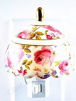 Refined Elegance Floral Lampshade Porcelain Flower Night light, nightlight by C&H®