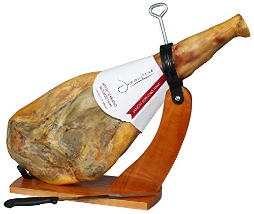Serrano Ham Bone in from Spain 15-17 lb + Ham Stand + Knife | Cured Spanish Jamon Made with NO Nitrates or Nitrites by Jamonprive (Image #2)