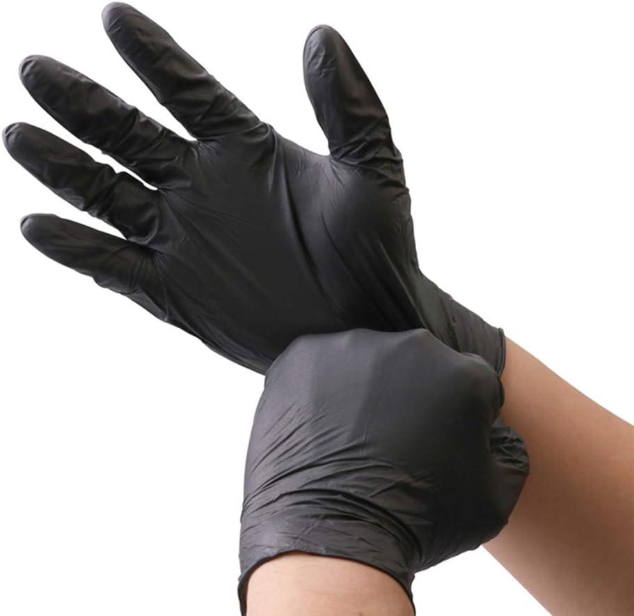 KOMI 100Pcs Disposable Nitrile Gloves for Exam Gloves Powder Free Kitchen Food Safety Cleaning (Black, XL-100PCS)