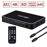 avedio links 6 Port HDMI Switch with ARC Audio Extractor,HDMI Switch 6X1 with IR Remote Control,4k HDMI Switcher 6 in 1 Out with Optical SPDIF & 3.5mm Audio Out for PS4/ Xbox/Blu-ray DVD/Roku- with