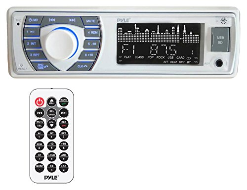- Pyle Bluetooth Marine Receiver Stereo - 12v Single DIN Style Boat in Dash Radio Receiver System with Digital LCD, RCA, MP3, USB, SD, AM FM Radio - Remote Control, Wiring Harness - PLRMR23BTW (White)