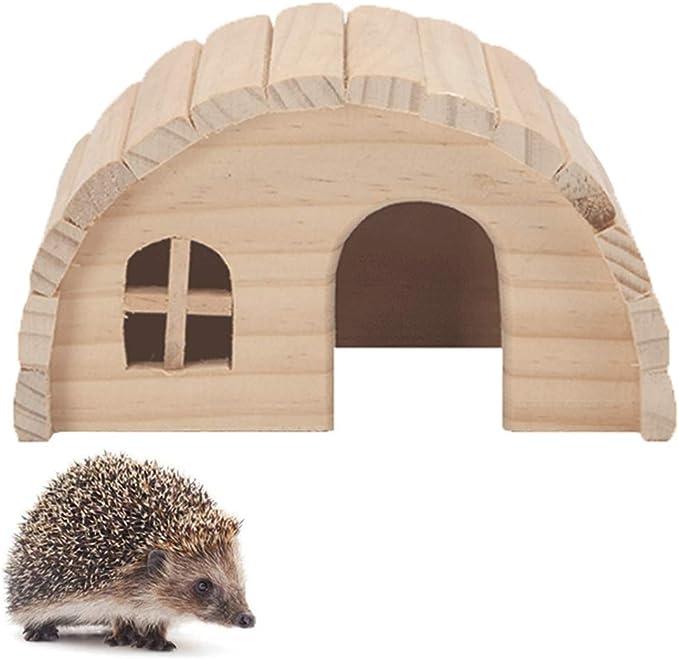 House de erizo para jardín impermeable, semicírculo diseño de madera erizo instalación de la estación de alimentación refugio de hibernación pequeña casa de animales erizo gato casa verano invierno