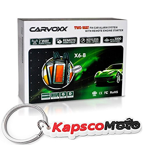 KapscoMoto 2 Way Car Truck Security Alarm with Remote Engine Start Fits all Car and Trucks + KapscoMoto Keychain