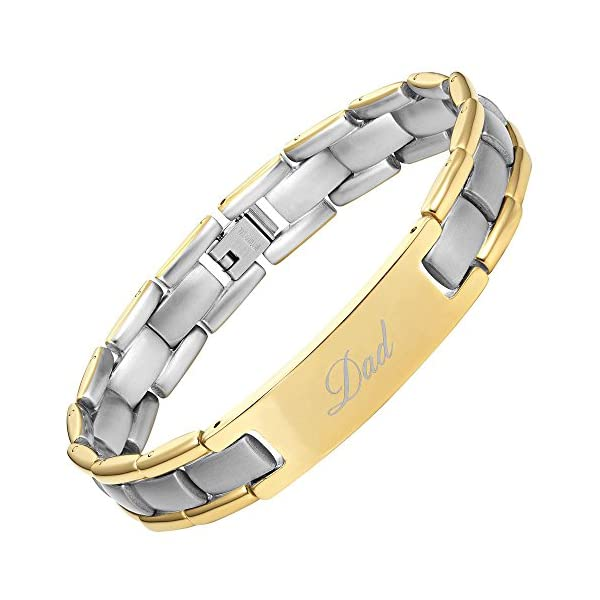 DAD-Titanium-Bracelet-Engraved-Best-Dad-Ever-Two-Tone-Adjusting-Tool-Gift-Box-Included-by-Willis-Judd