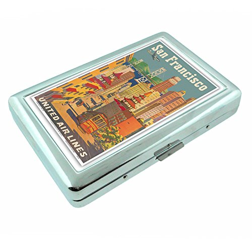 Metal Silver Cigarette Case Vintage Poster D-048 San Francisco, California - United Air Lines - Cable Car in Chinatown - Vintage Airline Travel