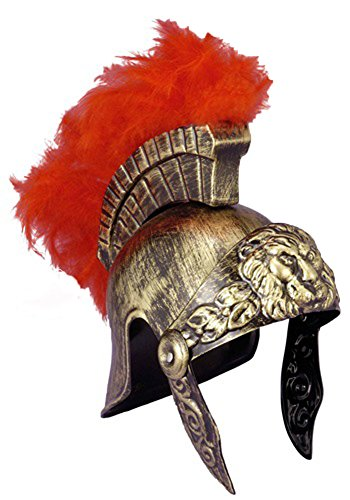 Roman Trojan Warrior Spartan Soldier Plastic Costume Helmet with Red Feather (Spartan Soldier Costume)