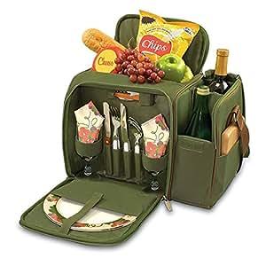 Ejército Verde Bolsa de picnic, para 2personas con compartimento refrigerador aislado bolso de; Este es grande y tiene un buen tamaño dos sección de botella en el lateral.