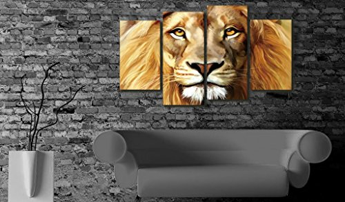 Nuolanart- 4 Panels Large Size Cool Lion Face Canvas Wall Art - Stretched Ready to Hang High Quality Oil Painting Print Modern Art for Decoration -P4S004 by Nuolan Art (Image #1)