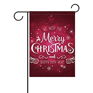 U LIFE Merry Christmas Happy New Year Garden Yard Flag Banner for Outside House Flower Pot Double Side Print 12 x 18 Inch
