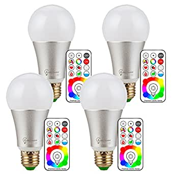 RGBW LED Bulb E26 E27 10w Color Changing Light Bulbs and Daylight White Color with Remote Control and Wall Switch Control Function