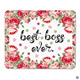 MsMr Mouse Pad Funny MousePad Best Boss Ever Creative Designed Gaming Mouse Pad for office/home 8''x9.1''