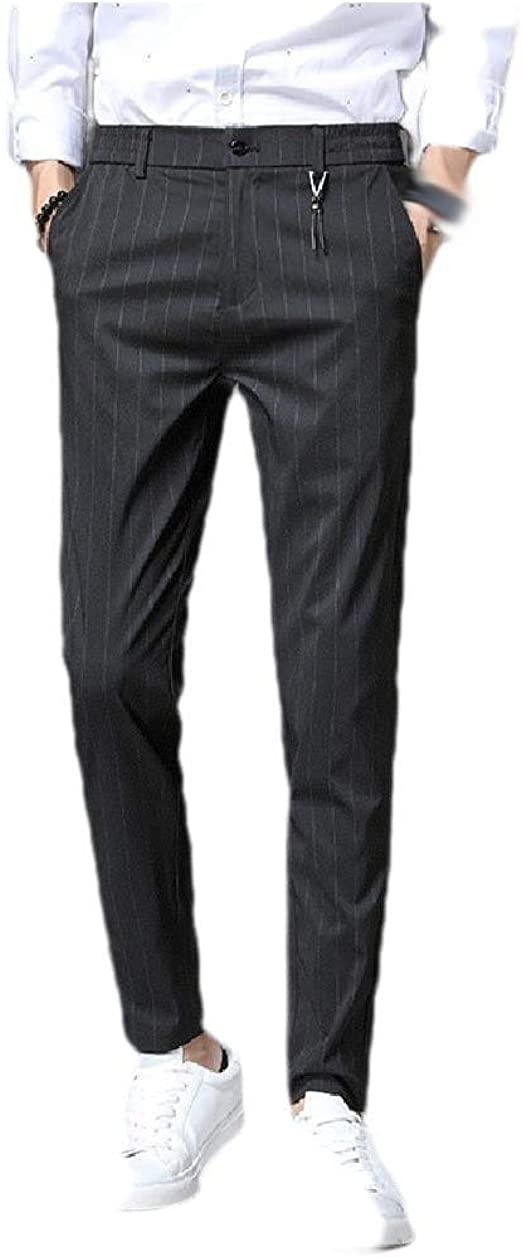 Tootess Men Straight Business Pocket Relaxed-Fit Mid Waist Plain Front Pant