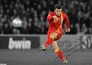 Gareth Bale–Gales firmado autografiado, 21cm x 29,7cm A4foto Póster