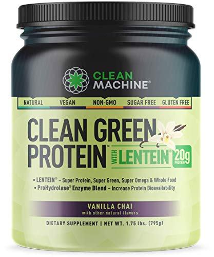 Clean Machine Clean Green Protein with Lentein, Vanilla Chai, 1.75 lbs, 20 Serving