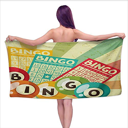 Onefzc Travel Bath Towel Vintage Bingo Game with Ball and Cards Pop Art Stylized Lottery Hobby Celebration Theme Super Soft Highly Absorbent W55 x L27 Multicolor
