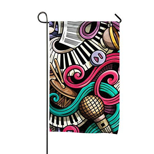 Elvira Jasper Music Doodle Garden Flags Polyester Fiber 12x18 in Decorative]()