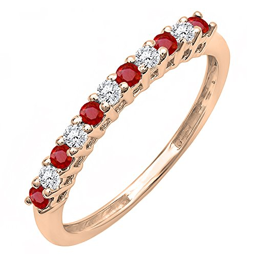 10K Rose Gold Round Ruby And White Diamond Anniversary Stackable Wedding Band (Size 7.5)