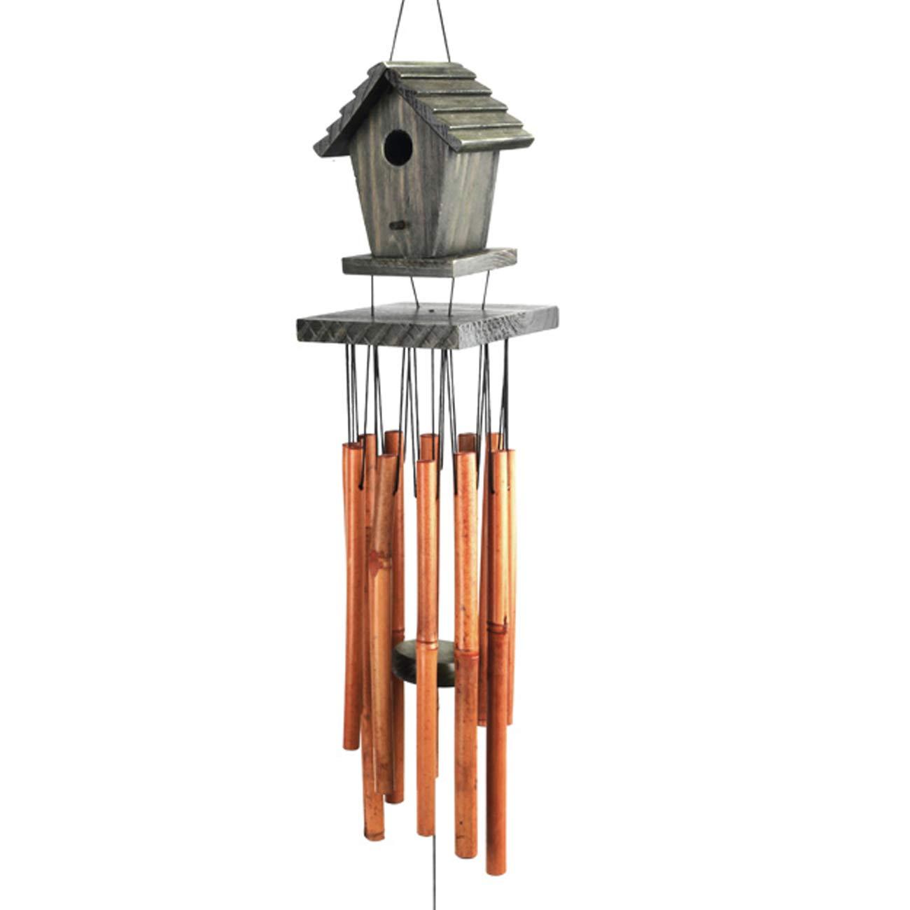 WOODMUSIC Wind Chimes, 36'' Large Birdhouse Windchimes Amazing Grace Garden, Patio, Balcony Indoor & Outdoor (Birdhouse g)
