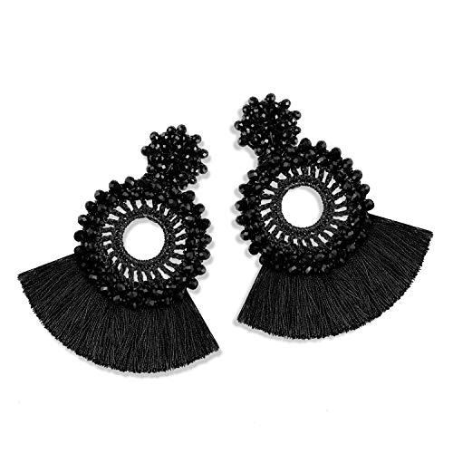 Statement Tassel Bead Earrings for Women, Drop Dangle Round Beaded Hoop Fringe Bohemian Earrings Women Girl Novelty Fashion Summer Accessories - E4 Black ()