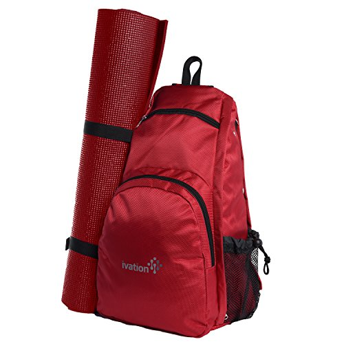 Ivation Yoga Mat Backpack Multi Purpose Crossbody Sling for Gym, Beach, Hiking or Travel,Red Review
