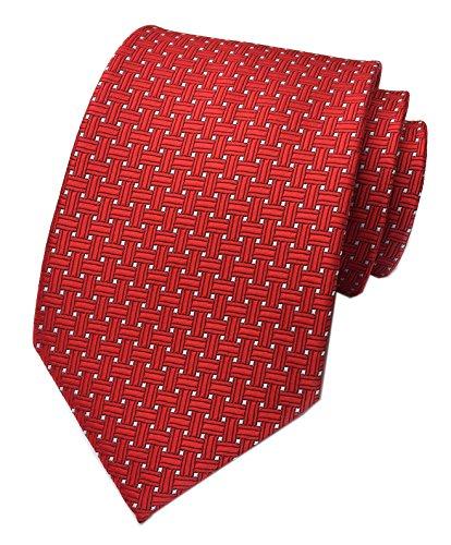 Elfeves Men's Elegant Red Trendy Textured Silk Cravat Tie Formal Wedding - Blazers Preppy Men For
