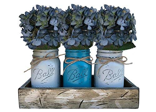 Mason Canning JARS in Wood Antique White Tray Centerpiece with 3 Ball Pint  Jar - Kitchen Table Decor - Distressed Rustic - Flowers (Optional) - SOFT  ...
