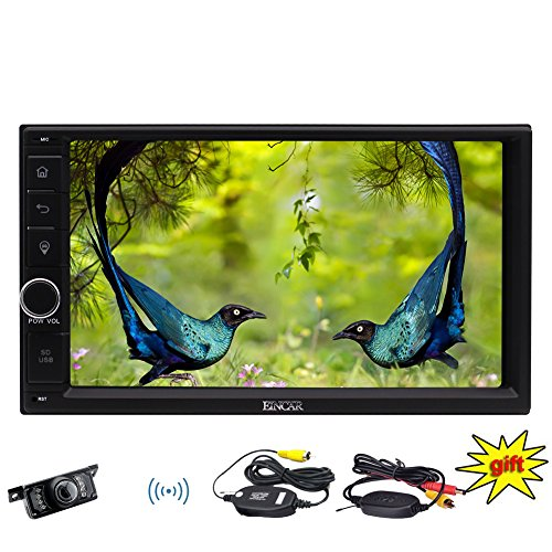 7 inch Double Din Stereo in Dash Capacitive Multi-touchscreen Car Headunits Windows CE GPS Sat Nav with LCD Screen Monitor Car Player Support Bluetooth/USB/SD/FM/AM RDS Radio Camera