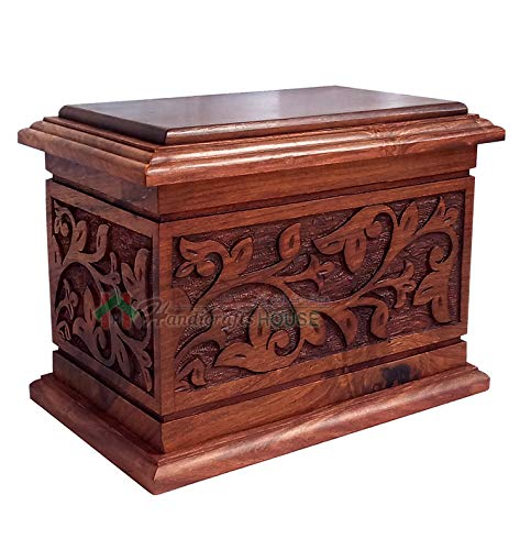 Handicrafts House Hands Engraving Tree of Life Wooden Cremation Urns, Wood Funeral Urn for Human or Pet Ashes Adult - Hardwood Memorial Large Box 270 cu/in