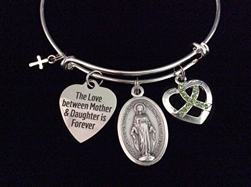 (The Love between a Mother and Daughter Forever Expandable Charm Bracelet Adjustable Bangle Gift Miraculous Mary Green Awareness Ribbon Cross)