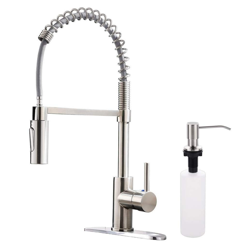 APPASO Commercial Pull Down Sprayer Kitchen Faucet with Soap Dispenser - Stainless Steel Brushed Nickel High Arc Tall Modern Single Handle Spring Kitchen Sink Faucet with Pull Out Spray Head