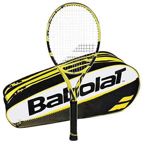 (Babolat 2019 Pure Aero Lite Tennis Racquet - Quality String with 6 Racquet Bag (Yellow Bag, 4-3/8))