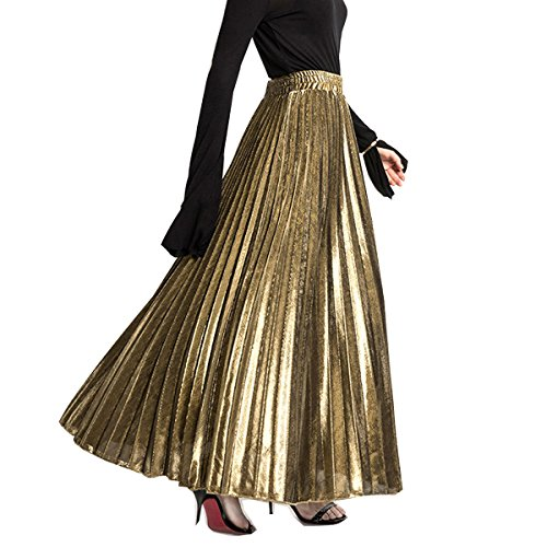 2018 Spring and Summer Fashion Casual Gold Silver Pleated Female Maxi Long Skirts Womens (Free, Gold)