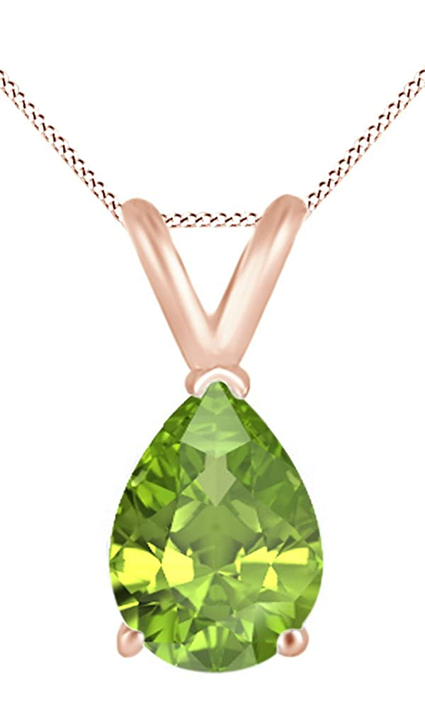 Jewel Zone US AFFY Womens Classic Simulated Gemstone Pear Shape Pendant Necklace in 10k Solid Rose Gold 1//2 cttw