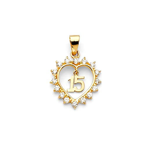 b89d057f80d8 ioka joyas - 14 K amarillo oro macizo corazón Sweet 15 años ...