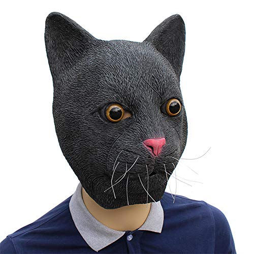 yangxiurongdedian Black Cat Latex Mask, Halloween Party Party
