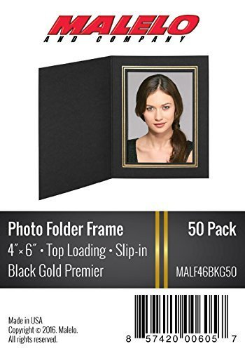 Black/Gold Cardboard Photo Folder Frame 4X6 - Pack of 50 by MALELO AND COMPANY