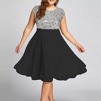 huihong torebka damska letnia sukienka sukienki duży rozmiar Mode okrągły dekolt bez rękawÓw cekinami patchwork impreza PROM Swing: Odzież