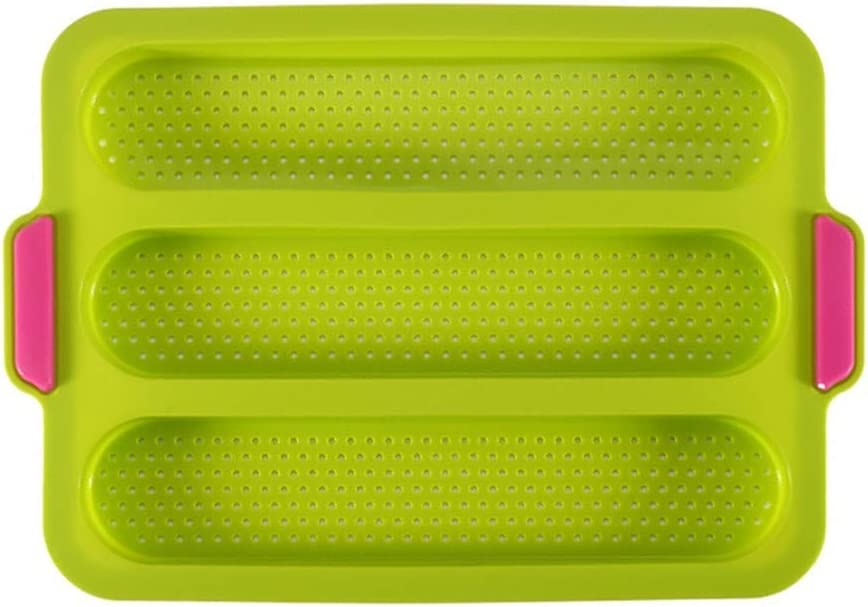 Silicone Bread Mold, Baguette Pan Baguette Baking Tray French Bread Baking Loaf Bake Mold Toast Bakers Mold Food Grade With 3 Grids for Homemade Baking Bread, Cakes,Break