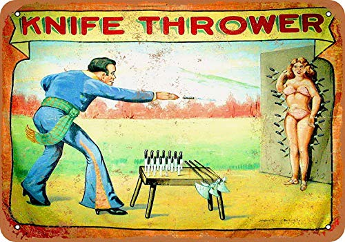 YFULL 8 x 12 Metal Sign - 1920 Carnival Midway Knife Thrower - Vintage Look Reproduction
