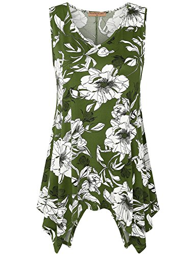 Womens Sleeveless Neck Tunic Print
