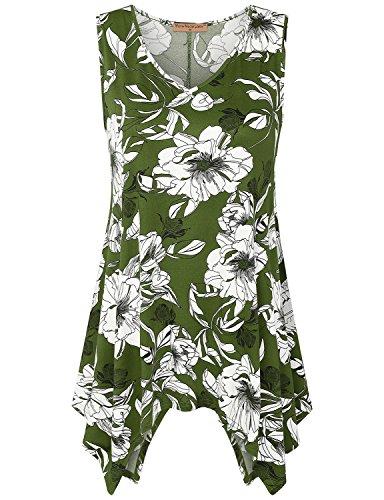 Chiffon Floral Tunic - Meow Meow Lace MML Women's Sleeveless V Neck HIT Side Drop Tank Tunic Top Print (XL, A-Green)