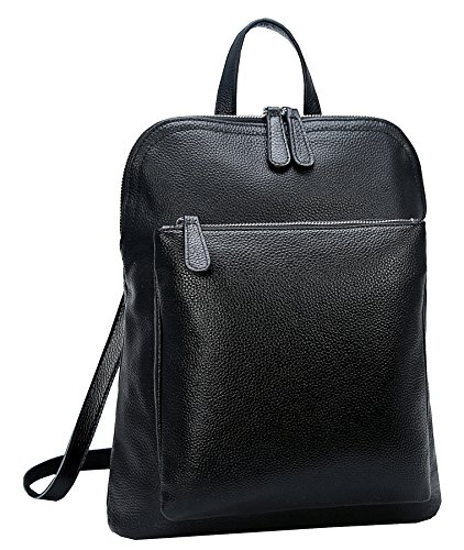 Heshe Women's Vintage Leather Backpack Casual Daypack for Ladies and Girls (Black-L)