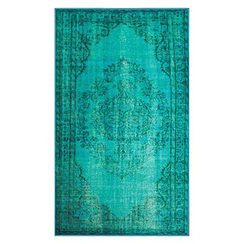 nuLOOM Remade Overdyed Collection Chroma Transitional Traditional Machine Made Area Rug, 8-Feet 2-Inch by 9-Feet 11-Inch, Turquoise